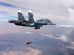 Russian Su-34 destroyed by bombing petrocarts of YOKES going to Iraq